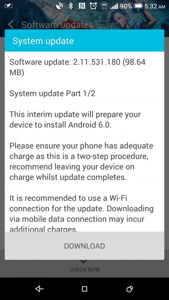 T-Mobile USA版向けの更新画面